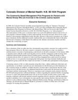 Colorado Division of Mental Health: H.B. 00-1034 Program