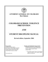 Colorado school violence prevention and student discipline manual
