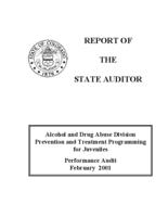 Alcohol and Drug Abuse Division Prevention and Treatment Programming for Juveniles