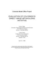 Evaluation of Colorado's direct wage withholding initiative