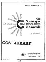 1981 summary of coal resources in Colorado