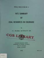 1972 summary of coal resources in Colorado