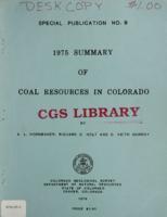 1975 summary of coal resources in Colorado