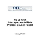 HB 08-1364 Interdepartmental Data Protocol Council report