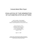 Evaluation of the generation of automated status letters