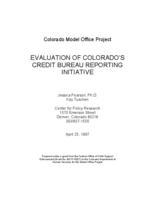 Evaluation of Colorado's credit bureau reporting initiative