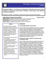 The status of standardized offender assessment (soa) training in community corrections, probation, TASC/parole, and offender treatment programs