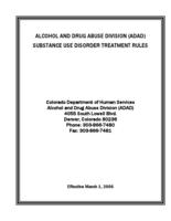 Alcohol and Drug Abuse Division, ADAD, substance use disorder treatment rules