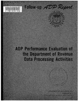 ADP performance evaluation of the Department of Revenue data processing activities