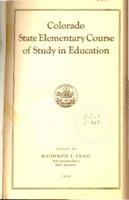 Colorado state elementary course of study in education