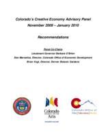 Colorado's Creative Economy Advisory Panel, November 2009-January 2010 recommendations