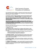 Film incentive program procedures and definitions