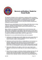 Recovery and resiliency models for mental health