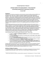 Central auditory processing deficits : a team approach to screening, assessment & intervention practices