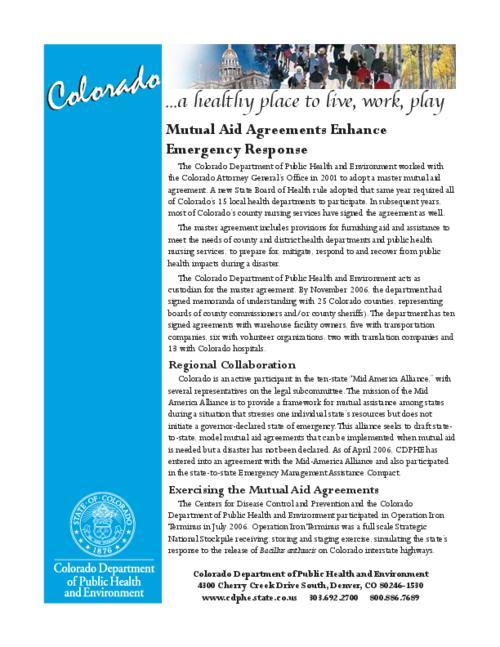 Mutual Aid Agreements Enhance Emergency Response Colorado State