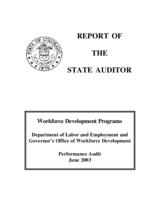 Workforce Development Programs, Department of Labor and Employment and Governor's Office of Workforce Development : performance audit