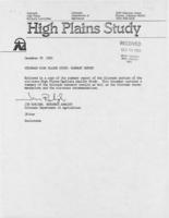 Colorado high plains study : summary report, November 1983