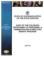 Audit of the Colorado Department of Personnel & Administrations's Employee Benefit Program