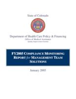 FY2005 compliance monitoring report for management team solutions