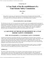 A case study of re-establishing a Utah seismic safety commission