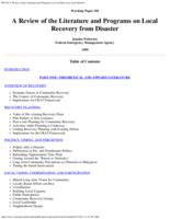 A review of the literature and programs on local recovery from disaster