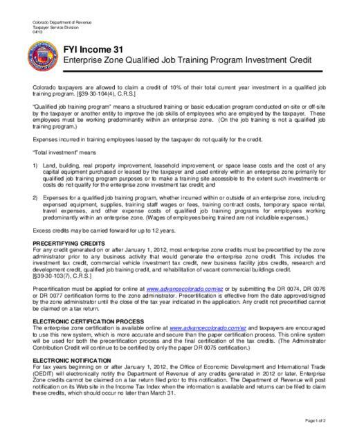 Enterprise zone qualified job training program investment credit ...