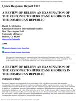 A review of relief : an examination of the response to Hurricane Georges in the Dominican Republic