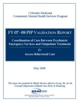 Coordination of care between psychiatric emergency services and outpatient treatment for Access Behavioral Care