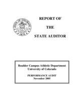 Boulder Campus Athletic Department University of Colorado : performance audit