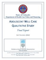 Adolescent well care qualitative study : final report