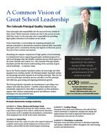 A common vision of great school leadership : the Colorado principal quality standards