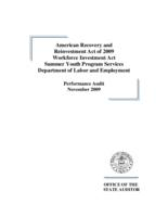 American recovery and reinvestment act of 2009, Workforce investment act, Summer youth program services, Department of Labor and Employment, performance audit