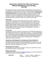 Department of Health Care Policy and Financing, Medicaid management of care strategy