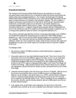 An assessment of community mental health resources : final report : submitted to the State of Colorado Department of Human Services, Office of Direct Services