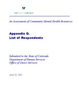 An assessment of community mental health resources : final report : submitted to the State of Colorado Department of Human Services, Office of Direct Services. Appendix D: List of Respondents