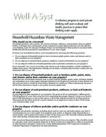 Well-A-Syst : wellhead assessment system. Household Hazardous Waste Management