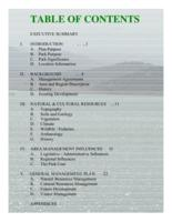 Trinidad Lake State Park : management plan update, 2001. Table of Contents