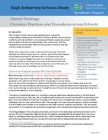 High achieving schools study. Synthesis report, overall findings: common practices and procedures across schools
