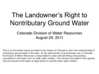 The landowner's right to nontributary ground water