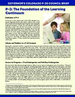 P-3, the foundation of the learning continuum