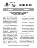 Capital construction and the role of the Capital Development Committee