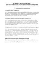 P-20 Education Council 2007 recommendations to Governor Ritter