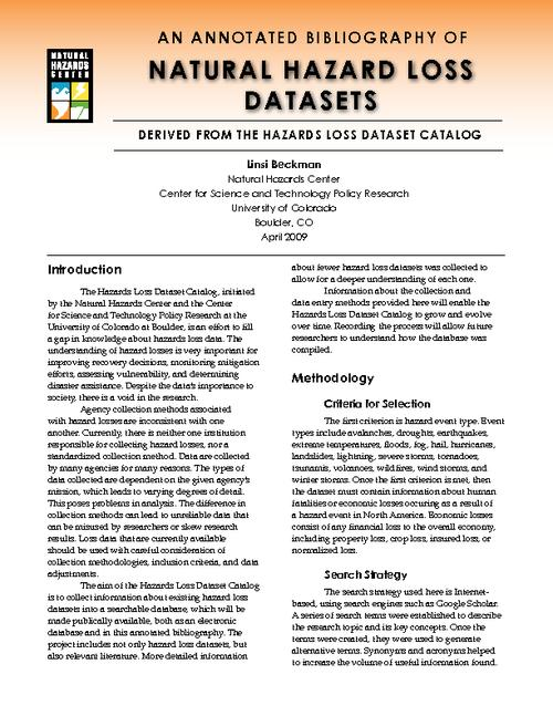 An annotated bibliography of natural hazard loss datasets : derived