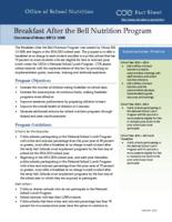 Breakfast after the bell nutrition program : overview of House bill 13-1006