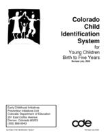 Colorado child identification system : for young children birth to five years