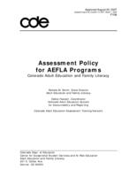 Assessment policy for AEFLA programs