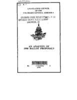 An Analysis of 1990 ballot proposals