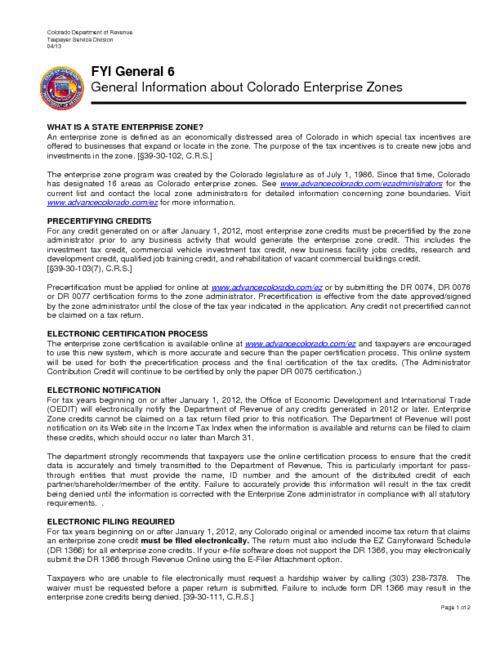General information about Colorado enterprise zones | Colorado State ...