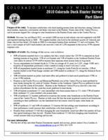 2010 Colorado duck hunter survey
