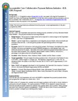 Accountable care collaborative payment reform initiative, H.B. 1281 proposal